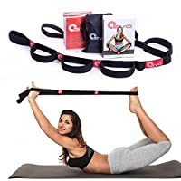Yoga Strap for Stretching - Stretching Strap for Physical Therapy, Pilates and Yoga Routines - eBook, Video Exercises & Carrying Bag Included, Womens  Girls  Unisex  Mens womens unisex girls mens, Black, 10 Elastic Loops from Yoga EVO
