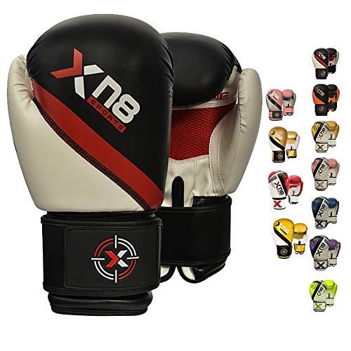 XN8 Boxhandschuhe Muay Thai Training - 8oz 10oz 12oz 14oz 16oz-Kickboxen Pro Sparring- Professioneller Punchinghandsc-uhe Mitts-Boxsack Boxing Gloves-Männer und Frauen