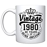 Veracco Crown Vintage 1980 40 Years Of Being Awesome Ceramic Coffee Mug 40th Birthday Gift For Him Her Forty and Fabulous (White 1980)
