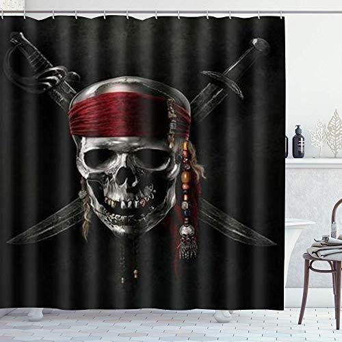 DYCBNESS Duschvorhang,Pirat,Vorhang Waschbar Langhaltig Hochwertig Bad Vorhang Polyester Stoff Wasserdichtes Design,mit Haken 180x180cm