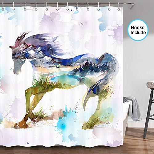 JAWO Duschvorhang, modisch, Aquarellfarben mit Tieren, Pferde mit Spritzer, Kunstwerk, Badezimmer-Accessoires-Set, Stoff-Duschvorhang-Set mit Haken, 178 cm