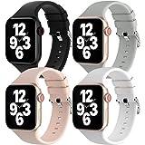 Fengyiyuda 4 Pack Correas Compatible con Apple Watch Correa 38mm 42mm 40mm 44mm, Correa Loop Deportiva con Silicona Suave de Repuesto Compatible con iWatch Series 6, 5 4 3 2 1, SE