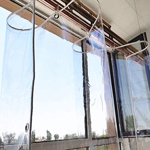 SHBV Lona Transparente para Posavasos Cortina de Lluvia para balcón Cubierta de PVC Resistente Dobladillo de Cuerda de Nailon Completamente Impermeable con Ojal para terrazas Muebles de jardí