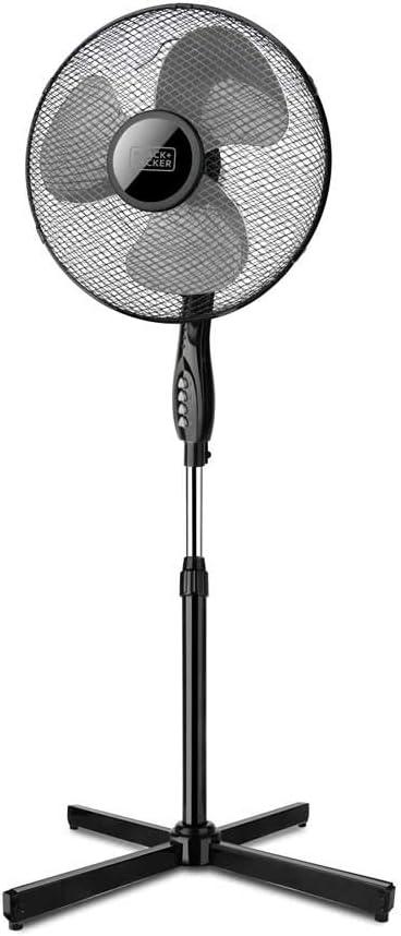 Black+Decker – BXEFP41E. Ventilador de columna. Base cruzada. Diseño elegante. Sistema de oscilación automático/Inclinación y altura ajustables. 3 aspas/40cm de diámetro. 3velocidades. Silencioso.