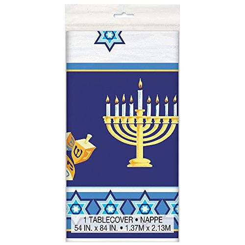 Happy Hanukkah Plastic Tablecloth, 84' x 54'