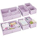 mDesign Juego de 8 organizadores para armarios – Separadores de cajones para el cuarto de los niños – Organizadores de cajones con 26 compartimentos para ropa, pañales o juguetes – lila claro/blanco