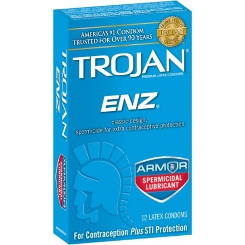 Trojan ENZ Premium Lubricated Condom with Spermicide for Contraception and STI Protection, 12 Count