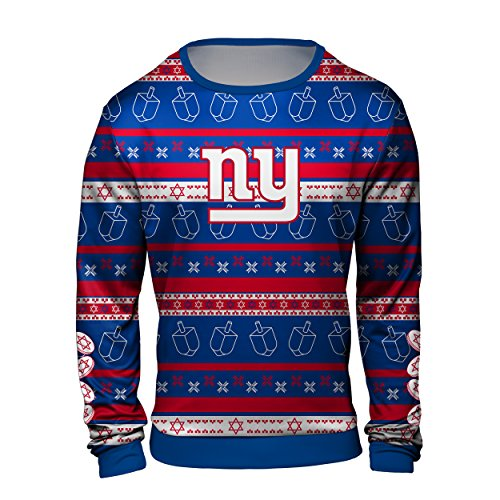 Forever Collectibles New York Giants Hanukkah Printed Ugly Crew Neck Sweater - Mens Large