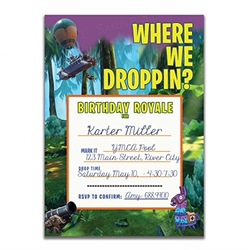 "Battle Royale Birthday Party Invitation "" Where We Dropping Party Invitations "" - 25 Invitations + 25 Envelopes - Single Sided - Video Game Invitations - Loot Llama- Birthday Party Gaming Party Supplies for Boys with Envelopes"