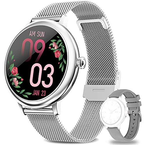 LIEBIG Smartwatch Damen,Fitness Tracker mit Schrittzähler IP67 Wasserdicht Sportuhr mit Weibliches Zyklusmanagement Pulsuhr Blutdruckmessgerät Schlafmonitor Damen Armbanduhr für Android iOS
