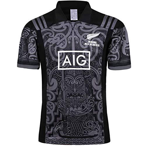 HANJIAJKL 2019 New Zealand All Black Team Copa Mundial Polo Shirt Hombre Rugby Jersey Camiseta de fútbol Polo Shirt Respirable