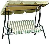Asiento de swing de 3 asientos, con techo y almohadilla de asiento - Jardín 20kg de carga - Jardín y terraza Banco de otoño,Beige