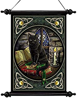 Design Toscano Cat and Books Canvas Wall Scroll, Full Color