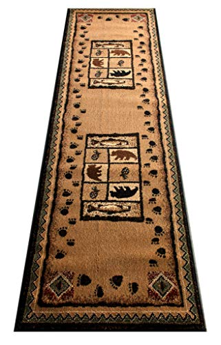Masada Rugs, Cabin Lodge Area Rug Bear and Fish Images (2 Feet 2 Inch X 7 Feet 2 Inch) Runner