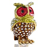 Jeweled Owl Trinket Boxes Hinged Small Jewelry Trinket Box Animal Figurines Collectibles Gift