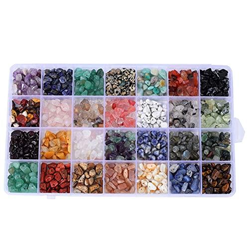 Timagebreze Cuentas de Cristal una Granel para Hacer Joyas, 28 Colores Kit de Chips de Piedras Preciosas Naturales Piedras Irregulares para Pulsera, Collar