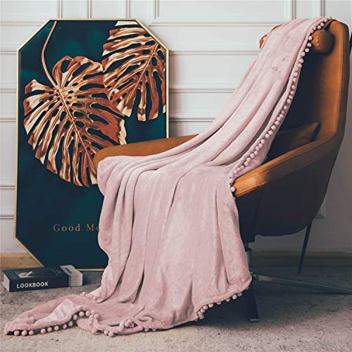 DEZENE Manta de Franela con Pompones, Manta de Felpa Suave para Sofá Cama, Manta Gruesa y Esponjosa, Manta de Felpa de Franela,130 x 150 cm,Rosado