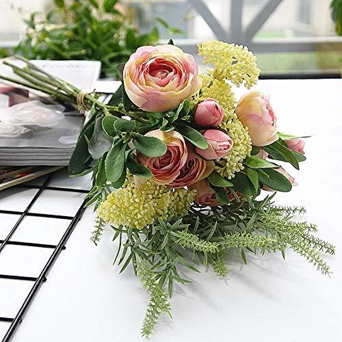 Arreglo de Flores Artificiales, Peon¨ªas de Seda realistas Ramo de Flores Vintage para la decoraci¨®n de la Fiesta de la Oficina de la Boda en el hogar, arreglos Florales, centros de Mesa