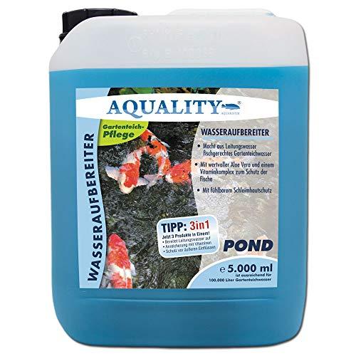 AQUALITY Gartenteich Wasseraufbereiter Pond 3in1 (GRATIS Lieferung in DE - Macht aus Leitungswasser fischgerechtes Teichwasser - Mit Aloe Vera, Vitamine - Schleimhautschutz), Inhalt:5 Liter