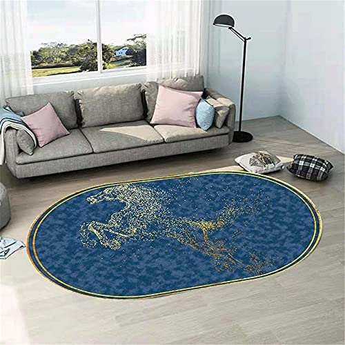 WCCCW Patrón de Caballo Amarillo Azul Simple Moderno óvalo Dormitorio Cama Junto a la Cama sofá Sala de Estar alfombra-60x90cm Suave Moderna Alfombra Antideslizante Alfombra