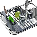 Roll Up Dish Drying Rack, Enkrio Foldable Over The Sink Dish Drying Rack, Multipurpose SUS304 Stainless Steel Sink Drying Rack for Kitchen, 17.3 x 11 inch
