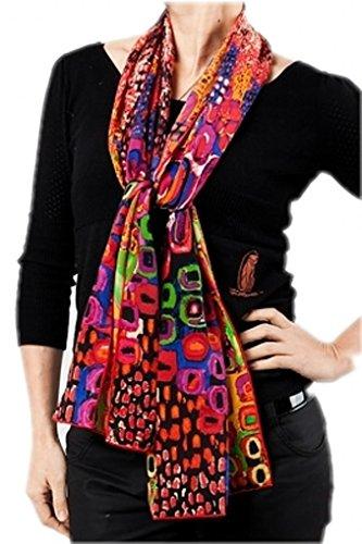 Prettystern prettystern Damen Seidenschal bunt Modern Kunst-Drucke Grafik Art Schal mit Kunstdrucke - Rot P261