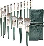 Whitely Juego de brochas de maquillaje profesional y bolsa de maquillaje para sombra de ojos y colorete (verde)