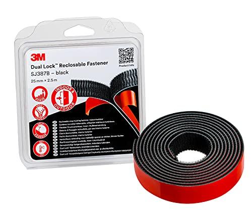3M Dual Lock SJ387B, sistemas de cierre reposicionable, óptima adhesión a la mayoría de las pinturas en polvo, metales, vidrio, madera sellada, acrílico, ABS - 25mm x 2.5m, negro, 6.1mm (1 unidad)