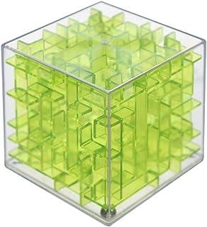 立体パズル 迷路 おもちゃ 知育3D キューブ型 子供 脳トレ 孫 プレゼント 暇つぶし (クリアグリーン)