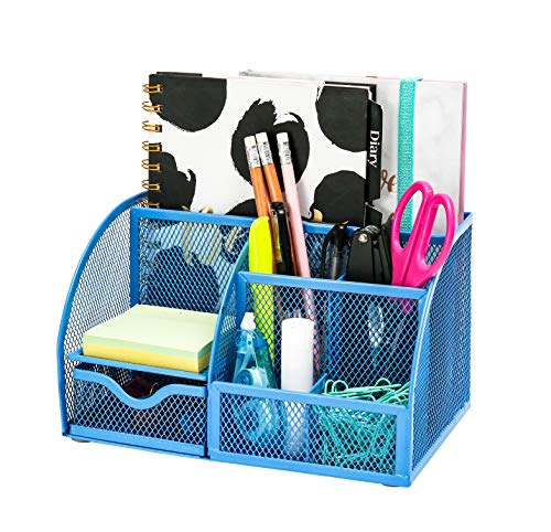 Exerz Mesh Desk Organizer Office with 7 Compartments + Drawer/Desk Tidy Candy/Pen Holder/Multifunctional Organizer Niagara Blue Trendy Color (EX348-NBLU)