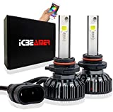 ICBEAMER 9005 HB3 Canbus LED+ RGB Headlight+ Daytime Running Light Replace Halogen Bulbs Control by Smartphone App [Set]