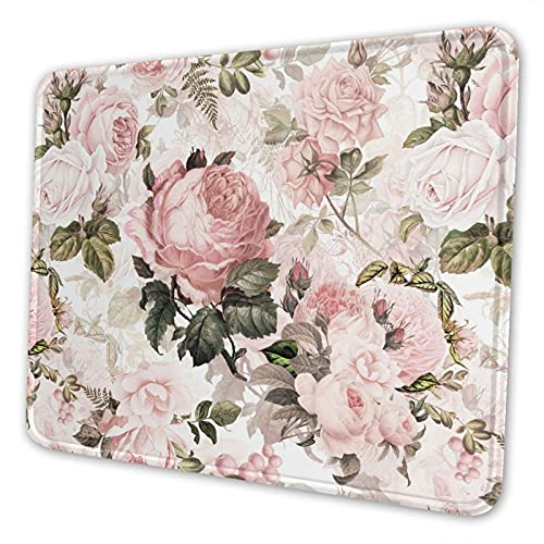 Mouse Pad Vintage Shabby Chic Pink Rose Floral with Non-Slip Rubber Base & Stitched Edge, for Laptop, Computer & Pc, 7.9 X 9.5 in