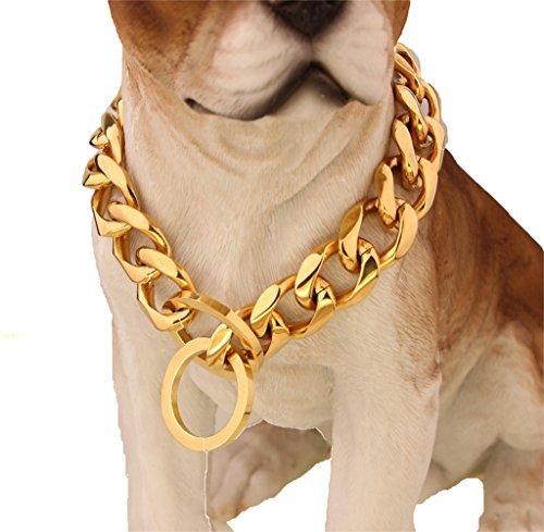 W/W Lifetime Custom Ultra Strong 19MM 14K Gold Plated Slip Chain Dog Collar - for Pit Bull Mastiff Bulldog Medium Large Dogs(19MM, 24