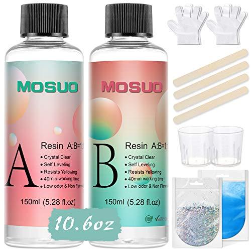 Resina Epoxi Ultra Transparente 315 g/300 ml, Proporción 1:1 para Bricolaje, Madera,...