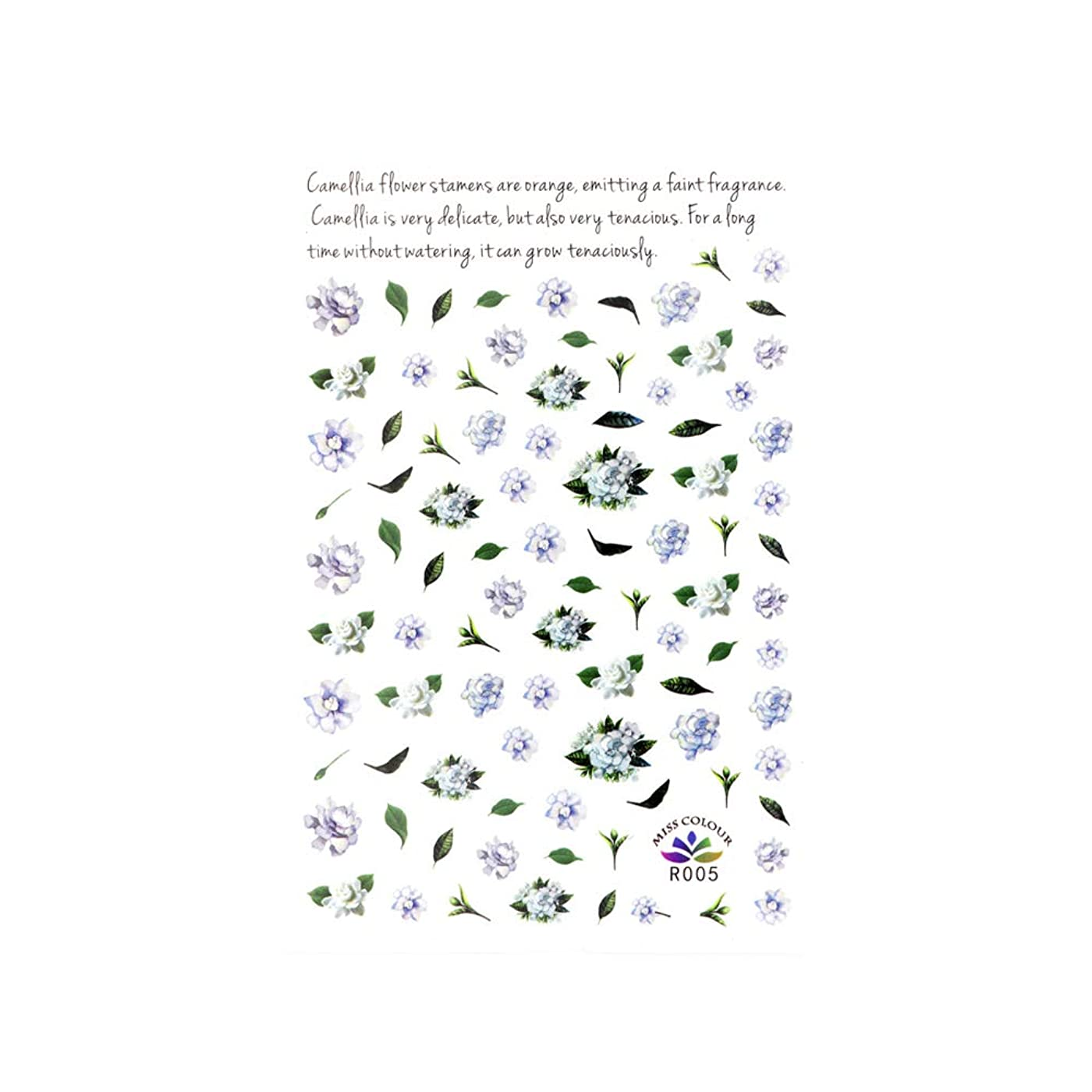 所得花婿住人ネイルシール ブルーローズシールフラワーネイル 花柄ネイル 春ネイル 押し花ネイル ローズネイル
