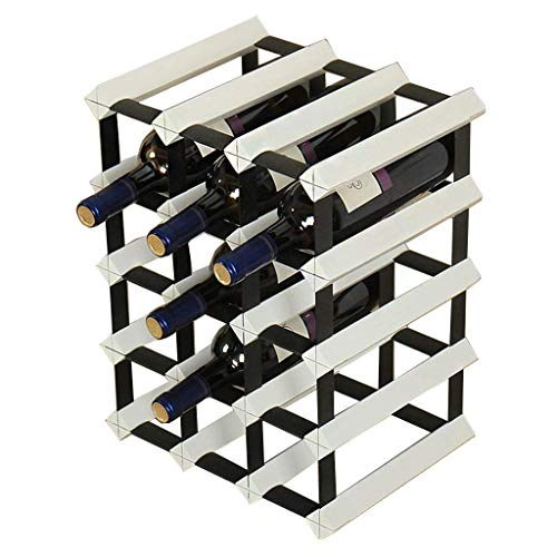 YWYW Metal Wood and Steel countertop Wine Bottle Holder Natural Wood Cabinet on The Table Bottle Holder Bottle Holder Wine Bottle Holder can Hold 12 Bottles (Color: White)
