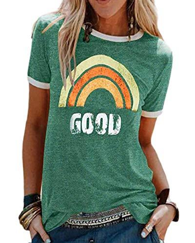 Yuson Girl – Camiseta de manga corta para mujer, diseño de arco iris, manga corta, camisa, camisa, camisa, camisa, camisa, tops, estampado de verano, parte superior, tops Cool Rainbow C-verde. XL