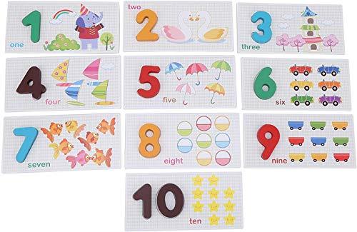 Juego de tarjetas flash de números de madera,rompecabezas de conteo de números de matemáticas para niños,juguetes educativos de aprendizaje preescolar,juguete Montessori para niños,niños pequeños,niño