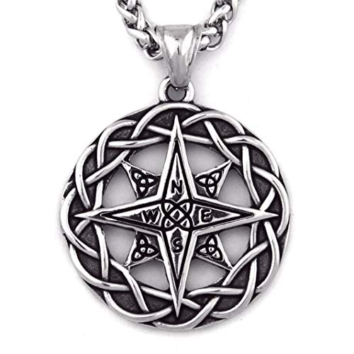Warvik Irish Compass Celtic Knot Necklace Eternity Asatru Strength, Stainless Steel Jewelry Mens Womens Wheat Chain 20/28inch