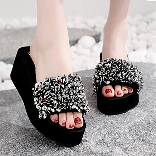 zapatillas deportivas de mujer blancas,Zapatillas de playa de soledad gruesa de verano, plataforma de cuña de tacón alto para mujer, sandalias y zapatillas, zapatillas antideslizantes de la fiesta de