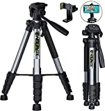 Endurax 66' Video Camera Tripod Compatible with Canon Nikon Lightweight Aluminum Travel DSLR Camera Stand with Universal Phone Holder Mount and Carry Bag