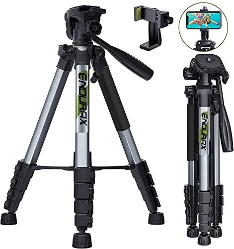 Endurax 167 cm/66 Inches Trípode de cámara de vídeo para Canon Nikon Aluminio Ligero Soporte de cámara DSLR de Viaje con Soporte Universal para teléfono y Bolsa de Transporte de Endurax (Plata)