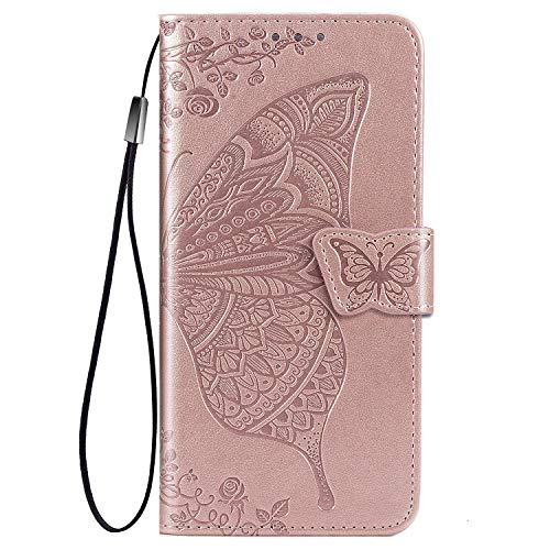 TOPOFU leather Case for LG Velvet 5G, [Kickstand & Card Slots] Premium PU/TPU Flip Case Magnetic Wallet Book Style Full Protection Case for LG Velvet 5G(Rose Gold)