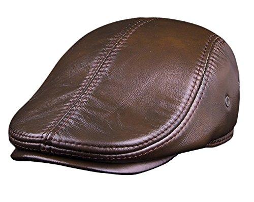 Insun Hombre Gorro Cuero de Aviador Sombrero de Invierno Boinas Gorras de Béisbol Amarillo marrón 2XL