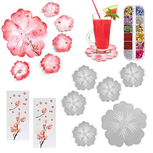 Calistouk - 6 Moldes de Resina Epoxi, Posavasos de Silicona, Flor de Silicona para Posavasos, 2 Papeles Adhesivos y 12 Ranuras de Lentejuelas Brillantes para Fundición de Resina Epoxi