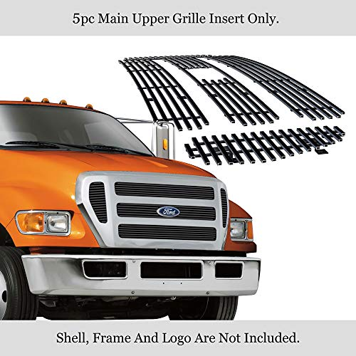 APS Compatible with Ford F-650 F-750 2004-2015 Black Billet Grille Grill Insert F65800H