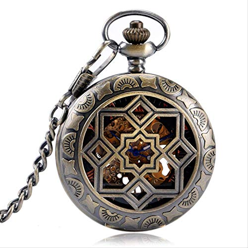 YYhkeby Bolsillo Wayshollow Ocho Puntiagudo Estrella Numero Romano Bolsillo Reloj Retro Esqueleto mecánico Mano Viento Steampunk Regalo kiakai Jialele (Color : Copper)