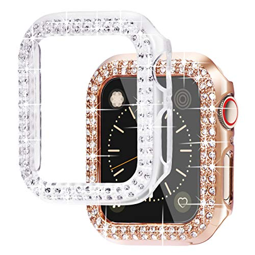 NewWays Bling Cases - Carcasa para Apple Watch (38 mm, 40 mm, 42 mm, 44 mm, protector para iWatch SE Series 6, 5, 4, 3 y 2 1, 40 mm, oro rosa y transparente)