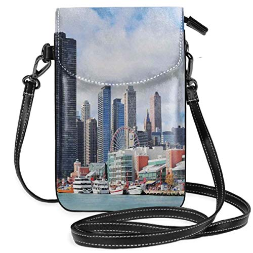 Women Small Cell Phone Purse Crossbody,Cloudy Sky On City Contemporary Downtown States Country Office Panorama