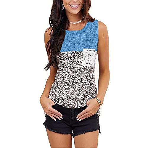 DOLAA Tops de Verano Mujer, Chaleco con Costuras de Leopardo y jerséis sin Mangas Camisola Camisetas sin Mangas Informales con Bolsillo